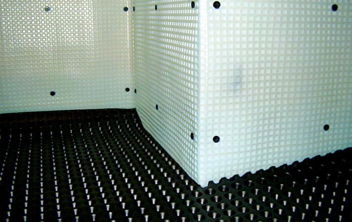 The studded membrane used for tanking in Southampton.